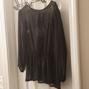 Lily Rose sheer black & polka dot blouse